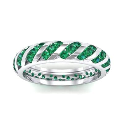 Diagonal Channel-Set Emerald Eternity Ring (1.26 CTW) Top Dynamic View