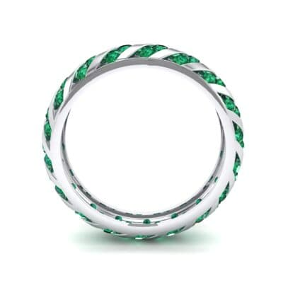 Diagonal Channel-Set Emerald Eternity Ring (1.26 CTW) Side View