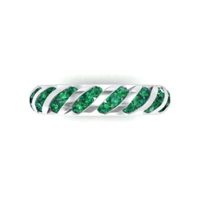 Diagonal Channel-Set Emerald Eternity Ring (1.26 CTW) Top Flat View