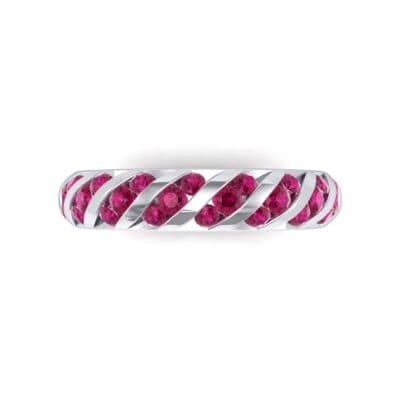 Diagonal Channel-Set Ruby Eternity Ring (1.26 CTW) Top Flat View