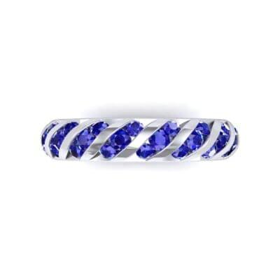 Diagonal Channel-Set Blue Sapphire Eternity Ring (1.26 CTW) Top Flat View