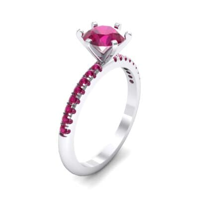 Thin Pave Six-Prong Ruby Engagement Ring (1 Carat)
