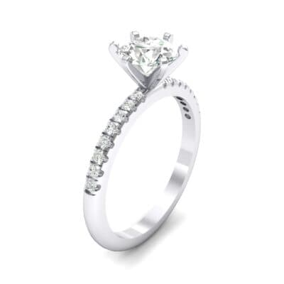 Thin Pave Six-Prong Crystal Engagement Ring (1 CTW)