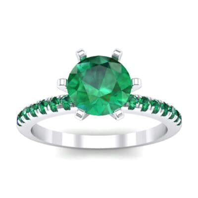 Thin Pave Six-Prong Emerald Engagement Ring (1 Carat)
