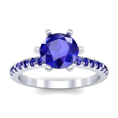 Thin Pave Six-Prong Blue Sapphire Engagement Ring (1 Carat)