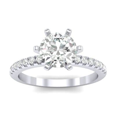 Thin Pave Six-Prong Diamond Engagement Ring (1 Carat)