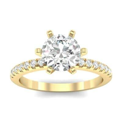 Thin Pave Six-Prong Diamond Engagement Ring (1 Carat)