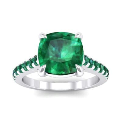 Scalloped Pave Emerald Ring (0.32 Carat)