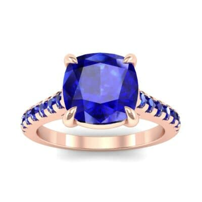 Scalloped Pave Blue Sapphire Ring (0.32 Carat)