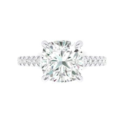 Scalloped Pave Crystal Ring (0.32 CTW) Top Flat View
