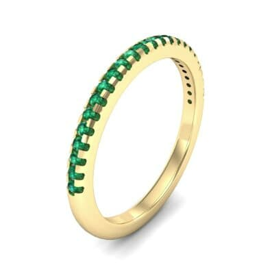 Petite Scalloped Pave Emerald Ring (0.17 Carat)