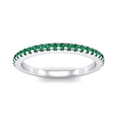 Petite Scalloped Pave Emerald Ring (0.17 Carat)