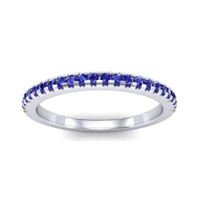 Petite Scalloped Pave Blue Sapphire Ring (0.17 Carat)