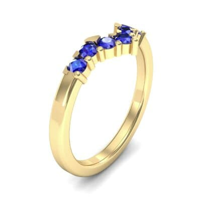 V Curve Blue Sapphire Ring (0.28 Carat)