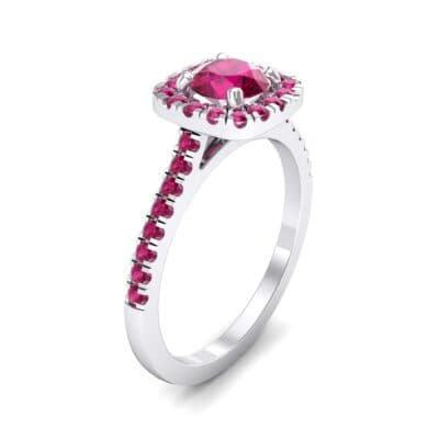 Pave Cushion Halo Round Brilliant Ruby Engagement Ring