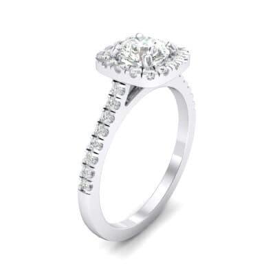 Pave Cushion Halo Round Brilliant Crystals Engagement Ring