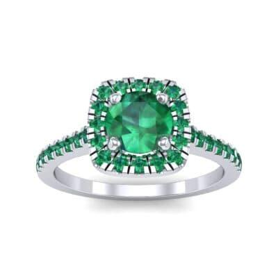 Pave Cushion Halo Round Brilliant Emerald Engagement Ring