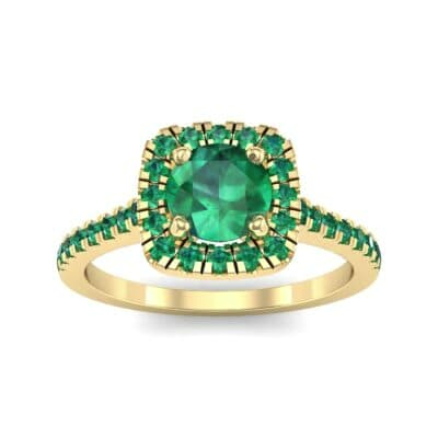 Pave Cushion Halo Round Brilliant Emerald Engagement Ring