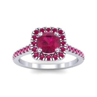 Pave Cushion Halo Round Brilliant Ruby Engagement Ring