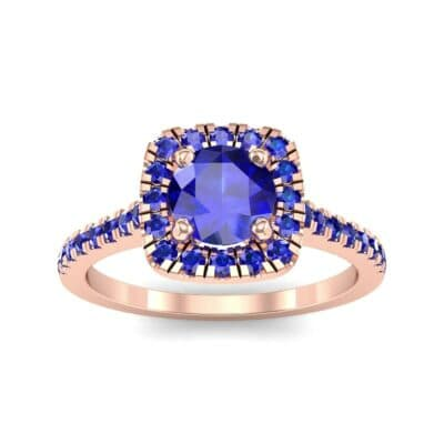 Pave Cushion Halo Round Brilliant Blue Sapphire Engagement Ring