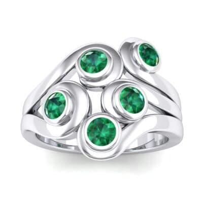 Five Stone Bezel Emerald Cluster Engagement Ring (0.7 Carat)