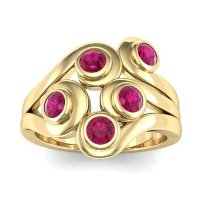 Five Stone Bezel Ruby Cluster Engagement Ring (0.7 Carat)