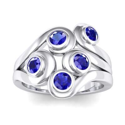 Five Stone Bezel Blue Sapphire Cluster Engagement Ring (0.7 Carat)