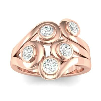 Five Stone Bezel Diamond Cluster Engagement Ring (0.7 Carat)