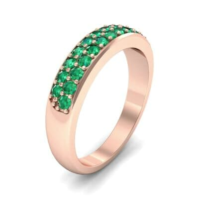 Two-Row Pave Emerald Ring (0.5 CTW)