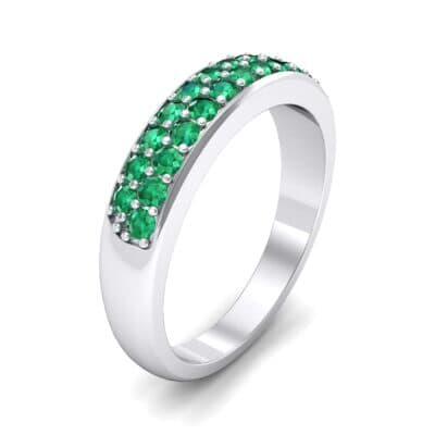 Two-Row Pave Emerald Ring (0.5 CTW) Perspective View