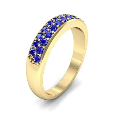 Two-Row Pave Blue Sapphire Ring (0.5 Carat)