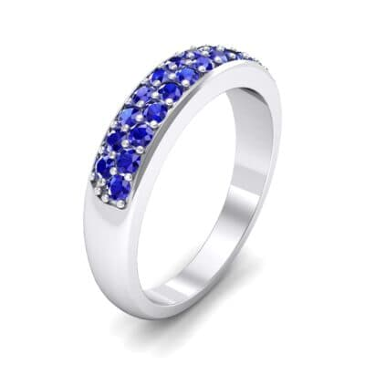 Two-Row Pave Blue Sapphire Ring (0.5 CTW)