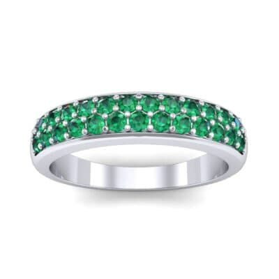 Two-Row Pave Emerald Ring (0.5 Carat)