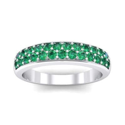 Two-Row Pave Emerald Ring (0.5 CTW) Top Dynamic View