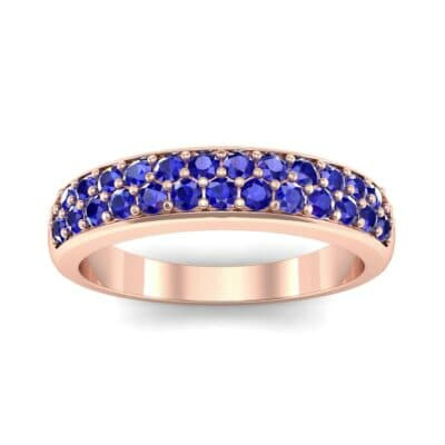 Two-Row Pave Blue Sapphire Ring (0.5 CTW) Top Dynamic View