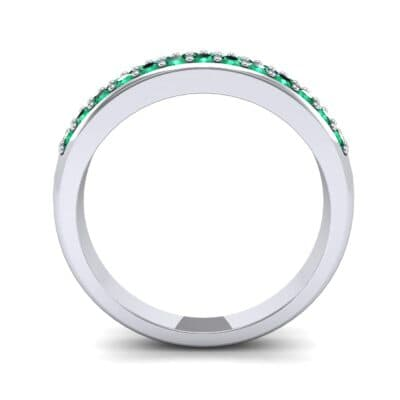 Two-Row Pave Emerald Ring (0.5 CTW) Side View