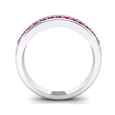 Two-Row Pave Ruby Ring (0.5 CTW) Side View