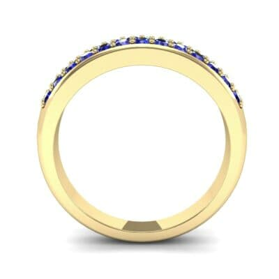 Two-Row Pave Blue Sapphire Ring (0.5 CTW) Side View