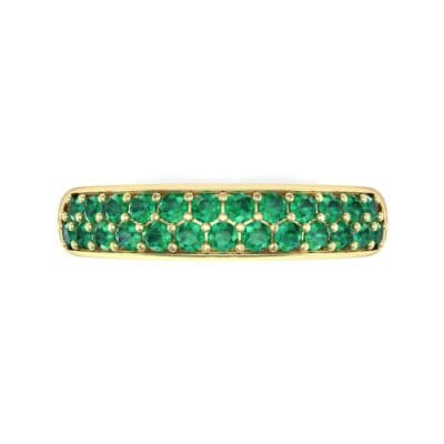 Two-Row Pave Emerald Ring (0.5 CTW) Top Flat View