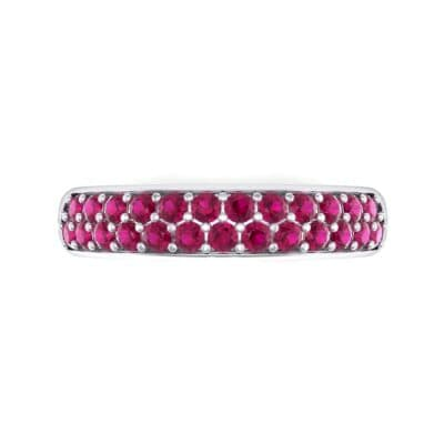 Two-Row Pave Ruby Ring (0.5 CTW) Top Flat View