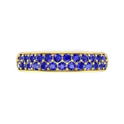 Two-Row Pave Blue Sapphire Ring (0.5 CTW) Top Flat View