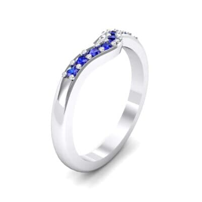 Petite Curved Summit Blue Sapphire Ring (0.18 Carat)
