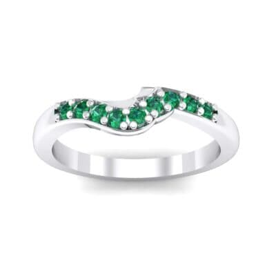 Petite Curved Summit Emerald Ring (0.18 Carat)