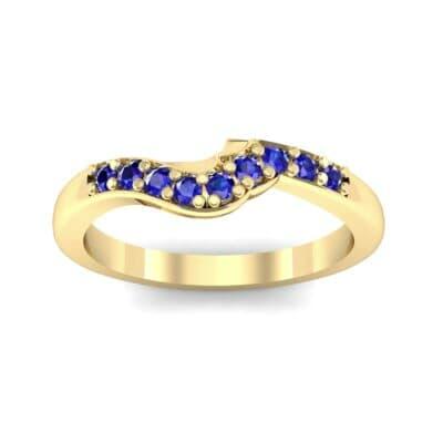Petite Curved Summit Blue Sapphire Ring (0.18 Carat)