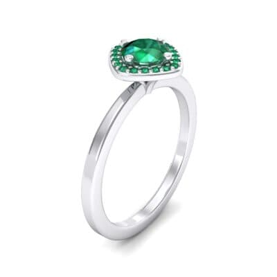 Compass Cushion Halo Round Brilliant Emerald Engagement Ring
