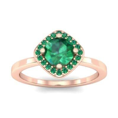 Compass Cushion Halo Round Brilliant Emerald Engagement Ring