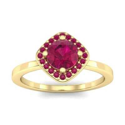 Compass Cushion Halo Round Brilliant Ruby Engagement Ring