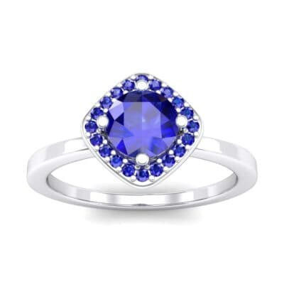 Compass Cushion Halo Round Brilliant Blue Sapphire Engagement Ring