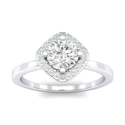 Compass Cushion Halo Round Brilliant Crystals Engagement Ring