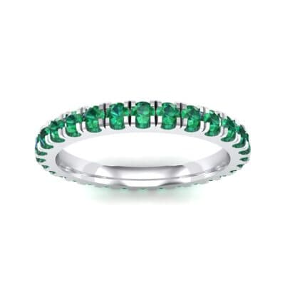 French Pave Emerald Eternity Ring (0.9 Carat)
